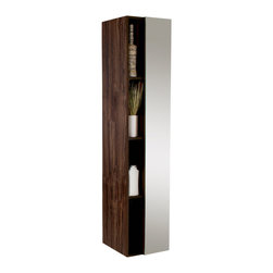 Fresca - Fresca Walnut Bathroom Linen Side Cabinet w/ 4 Cubby Holes & Mirror - This side cabinet comes with a Walnut finish.  It features 4 narrow cubby holes and a mirror on its soft closing cabinet door.