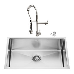 """VIGO Industries - VIGO All in One 30-inch Undermount Stainless Steel Kitchen Sink and Faucet Set - Enhance the look of your kitchen with a VIGO All in One Kitchen Set featuring a 30"""" Undermount kitchen sink, faucet, soap dispenser, matching bottom grid and sink strainer."""
