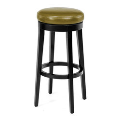 Armen Living - Armen Living Mbs-450 Backless Swivel Barstool in Wasabi - 30 Inch - Striking wasabi colored leather tops this 26 inches high backless swivel barstool with espresso wood finish legs. Armen Living is the quintessential modern-day furniture designer and manufacturer. With flexibility and speed to market Armen Living exceeds the customer's expectations at every level of interaction. Armen Living not only delivers sensational products of exceptional quality but also offers extraordinarily powerful reliability and capability only limited by the imagination. Our client relationships are fully supported and sustained by a stellar name legendary history and enduring reputation. The groundbreaking new Armen Living line represents a refreshingly innovative creative collaboration with top designers in the home furnishings industry. The result is a uniquely modern collection gorgeously enhanced by sophisticated retro aesthetics. Armen Living celebrates bold individuality vibrant youthfulness sensual refinement and expert craftsmanship at fiscally sensible price points. Each piece conveys pleasure and exudes self expression while resonating with the contemporary chic lifestyle.