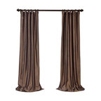 """Exclusive Fabrics & Furnishings - Mushroom Blackout Faux Silk Taffeta Curtain - SOLD PER PANEL . 56% Nylon 44% Polyester .Blackout Curtain - Lined (ivory color) & Interlined (black cotton flannel) . 3"""" Pole Pocket with Hook Belt .Dry Clean Only ."""