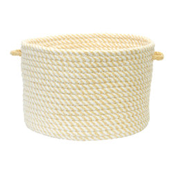 """Colonial Mills, Inc. - Twisted, Lemon Utility Basket, 18""""X12"""" - Hold everything — with a twist. This handled basket will help you hold, hide and haul just about everything in cheerful, twisted style. Durable and adorable, it's made from braided polyester chenille in lemon yellow and white. It's a juicy addition to your bathroom or dressing area."""