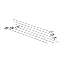 "Bambeco BBQ Skewers Set of Six - Skew your mind the green way with the BBQ Skewers Set of 6. This set of six flat blade skewers keeps fare stable for easy turning and they're long enough to keep your hands out of the heat. The flat style means food won't rotate on the skewer. These BBQ Skewers are made from stainless steel, an eco-friendly material manufactured from a high percentage of recycled steel and is itself 100% recyclable. Dimensions: 16""L, set of 6."
