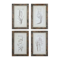 Uttermost - Uttermost Grasses Framed Art Set of 4 - 51087 - Uttermost's art combines premium quality materials with unique high-style design.