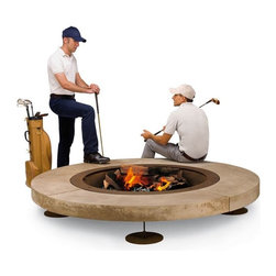 Design Rondo Outdoor Fire Pit - Design Rondo steel and stone outdoor fire pit.