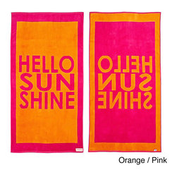 Freeman - Hello Sunshine Reversible Oversized Beach Towel - This wonderfully lush,oversized beach towel features a fun 'Hello Sunshine' print on both sides. Made from super plush cotton,this beach towel is reversible for versatility.