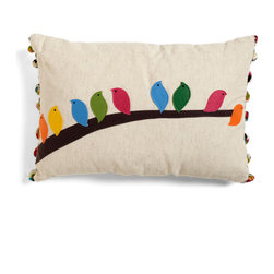 Flock of the Draw Bird Pillow - Bright and colorful throw pillows are fun to toss around the playroom — for a pillow fight or for lounging.