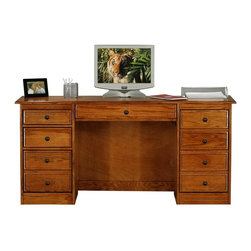 Eagle Furniture Manufacturers - Classic Oak Double Pedestal Computer Desk (Medium Oak) - Finish: Medium Oak. One keyboard and pencil drawer combo. Two letter drawers. One raised panel file drawer. One CPU storage door. Non-finished back. Made from oak solids and veneers. Warranty: Eagle's products are guaranteed against material defects for one year from date of delivery to the dealer. Made in USA. No assembly required. 64 in. W x 21 in. D x 30.25 in. H (121.33 lbs.)American oak hardwood and traditional styling make the Classic Oak collection one for the ages. Crown molding, antique brass hardware and solid oak frames and raised panel doors combine longevity and classic style in this enduring and popular collection