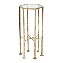 BridgeBlue Sourcing Partners - Harrison Accent Table, Gold Leaf - The Harrison Accent has a hexagonal shape with a glass top ina metallic leafed finish.