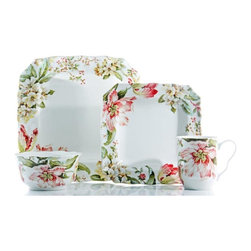 222 Fifth - 222 Fifth Ellis Floral Ceramic 16-piece Set - Bring the beautiful colors of the garden indoors with the Ellis dinnerware set. This graceful,dishwasher and microwave safe set features service for four and is suitable for both parties and everyday use.
