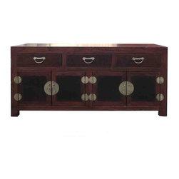 Golden Lotus - Chinese Elm Burlwood Low TV Stand Console Cabinet - This simple low cabinet is made of elm wood and burlwood. The natural wood pattern of the elm wood stained with medium brown color and the doors and drawers have unique pattern of burlwood. The combination with the oriental hardware creates a character to the cabinet.