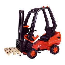 Big Toy USA - Toys Toys Linde Forklift Pedal Riding Toy - BIG-56580 - Shop for Tricycles and Riding Toys from Hayneedle.com! Need a lift? The Big Toy USA Linde Forklift Pedal Riding Toy turns work into play just like Dad. The adjustable stroke stand makes for realistic fun and the operator's cab is removable. Dust-protected precision chain drive and genuine Ackermann steering provide a realistic experience. Seat is adjustable to fit kids 3 and up. There's a trailer coupling on front and rear for hauling your load. Made of strong ABS plastic. Assembles easily. About Big Toys USABig Toys USA is an exclusive U.S. distributor for high quality ride-on toys from Spain Germany China and Italy along with a complete line of American-made rideable toys. Bigs Toys represents Fisher Price Power Wheels Big Injusa Kid Trax Mini Motos Feber NPL Evo Powerboards and Toys Toys. Big Toys focuses is on quality safety value and most of all Big Fun.