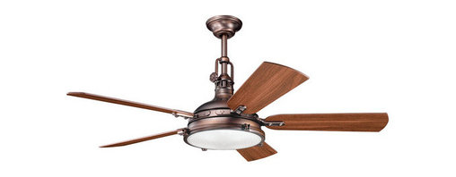 """Kichler - Kichler 300018OBB Oil Brushed Bronze Hatteras Bay 56"""" Indoor Ceiling - Included Components:  3-Speed indoor ceiling fan 5 Wooden fan blades 4-Bulb light kit Portable Cool-Touch remote control with wall mounting kit 12"""" Down rod  Fan Features:  Fan is fully covered under Kichler s limited lifetime warranty Fan housing features all-metal construction Sturdy solid wood blades provide a lifetime of beauty Blades are reversible - giving maximum aesthetic versatility Hanging canopy style - compatible with downrods ranging from 6"""" - 72"""" (12"""" downrod included) 3 Speed options - operates in both forward and reverse Portable control panel for on/off and speed adjustment (comes with wall docking) Included 4-bulb light kit - makes for an all-in-one installation package 78"""" Lead wire included Secure mounting assembly enhances fan s safety  Fan Specifications:  Motor Size: 188mm x 25mm Fan Speeds: 3 Height: 22.5"""" (measured from ceiling to bottom most point on fan fixture) Blade Sweep: 56"""" (total fixture width) Blade Pitch: 14-degrees Location Rating: Dry / Inside Airflow on High: 5515 CFM (cubic feet per minute) Watts on High: 160 (excludes light wattage) Voltage: 120 V Light Direction: Down Lighting Bulb Type: Halogen  Bulb Compatibility and Base:  Bulb Base - Bi Pin : The bi pin, or  bipin socket , is a standard from the IEC (International Electrotechnical Commission) for lamp fittings. These are used on many small incandescent light bulbs.  About Kichler Kichler has been an industry leader in the lighting industry for nearly a century. They believe that products you choose for your home should no"""