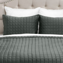 Z Gallerie - West Street Quilted Coverlet Set - Supremely soft, and available in five distinct hues, our dark grey West Street Quilted Coverlet Set elevates the comforts of your bedroom.  Create a fresh display to rest upon using the versatility of our West Street Bedding.  Display alone for a refined look, or combine with complementary pieces for stunning layered look. Each set is sold complete with a quilt and two matching shams.