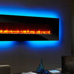 "SimpliFire 94-In Linear Wall Mount Electric Fireplace - SF-WM94-BK - One of our largest units, the 94"" wall mounted electric fireplace makes a dramatic statement with 14 backlight options."