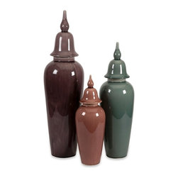 Anderson Urn - Set of 3 Green Gray Taupe - *The softer side of jewel toned colors accentuate this set of three lidded urns in small, medium and large sizes.