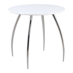 "Euro Style - Bistro 30"" Table - White/Chrome - True to its name, the Bistro table is right at home wherever people gather for drinks, snacks and good times.  A 30"" diameter lacquered top is just right for conversation and easy maintenance."