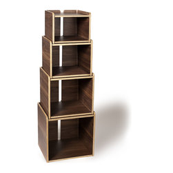"""OFFI - Nester Storage Stacking Boxes, Walnut - The OFFI Nester Stacking Boxes, Walnut: Designed by Eric Pfeiffer, part of the OFFI Nester Family. Stacked tower: 15""""W x 15""""D x 46""""H, Top box: 11 3/8""""W x 11 3/8""""D x 8 3/4""""H, 2nd box: 11 3/4""""W  x 12 1/8""""D x 10 3/4""""H, 3rd Box: 14 1/8""""W x 13 1/8""""D x 13""""H, Bottom Box: 15 1/2""""W x 14""""D x 15""""H. Set of 4."""