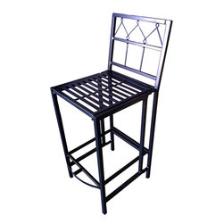 Pangaea Home & Garden - Folding Bar Stool - With the flip of your wrist this sturdy, handmade wrought iron bar stool folds completely flat for easy portability and space saving off-season storage. The powder-coated finish protects the stool providing year round weather resistance.