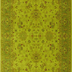 "Karastan - Karastan Esperanza 621-70061 (Green Apple) 8'8"" x 10' Rug - Classic Karastan Axminster designs bathed in rich pigmented dyes in vibrant shades of orange, apple green, sea blue and amethyst create a modern twist on timeless patterns. The Esperanza collection of rugs are made of durable and renewable New Zealand wool, woven in the U.S., and are able to withstand the most challenging demands of today's lifestyles."