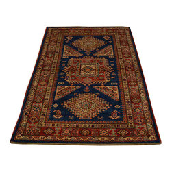 1800-Get-A-Rug - 100% Wool High Qualtity Kazak Hand Knotted Oriental Rug Sh16709 - Our Tribal & Geometric hand knotted rug collection, consists of classic rugs woven with geometric patterns based on traditional tribal motifs. You will find Kazak rugs and flat-woven Kilims with centuries-old classic Turkish, Persian, Caucasian and Armenian patterns. The collection also includes the antique, finely-woven Serapi Heriz, the Mamluk Afghan, and the traditional village Persian rug.