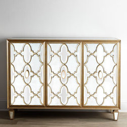 """John-Richard Collection - John-Richard Collection """"Arabesque"""" Mirrored Console - This elegant mirrored console uses both eglomise and modern beveled mirrors placed alternately with in a pattern of intertwined carved moldings to create its intriguing arabesque design. From the John-Richard Collection. Handcrafted of acacia wood, wo..."""