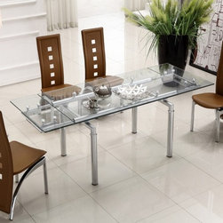 Extendable Clear Glass Top Leather Modern Dining Table Sets - Clear glass extendable table with four brown side chairs. This modern dining table set will bring elegance and beauty to any room in your home. This dining room table is also available with a black top. The dining table features a modern extend-able table and tempered clear glass.