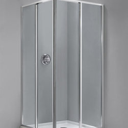 "Dreamline - Cornerview 34 1/2 x 34 1/2"" Framed Sliding Shower Enclosure - The Cornerview shower enclosure is a perfect combination of solid construction and timeless design. The corner installation provides an effective solution to maximize space. The four panel configuration includes two corner-opening sliding doors to create a spacious walk through. The simple architectural form of the enclosure boasts clean modern lines. This streamlined look will work with any decor from Ultra-modern to traditional."