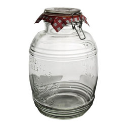 """Home Essentials - Kleins Sealed Cookie Jar - A cookie jar is a canister that brings up nostalgia to anyone. From the unique designs to the actual function of the cookie jar, each cookie jar has its own personality and stylish flair. Use this Round Mason Jar to display your good taste and delectables. Delight any hostess or housekeeper by presenting this canning jar filled to the brim with anything your creative mind can create! This sealed ball jar allows you to showcase your goodies for a long time.  * Sealed with a bail and trigger lid.  * Capacity: 135oz, Dimensions: 7"""" Dia x 10.5""""H"""