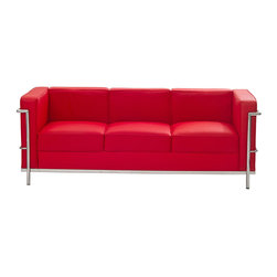 LexMod - Le Corbusier Style LC2 Sofa in Genuine Red Leather - Urban life has always a quandary for designers. While the torrent of external stimuli surrounds, the designer is vested with the task of introducing calm to the scene. From out of the surging wave of progress, the most talented can fashion a force field of tranquility.