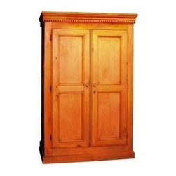 British Traditions - English Armoire (English Pine Light) - Finish: English Pine Light. Each finish is hand painted and actual finish color may differ from those show for this product. Includes 1 Clothes Rod. English armoire. Dentil molding can be removed. Clothes rod standard. Minimal assembly required. Interior cabinet size: 33 in. W x 18 in. D x 53 in. H. 4 in. Up off ground. 45 in. W x 22.5 in. D x 69.5 in. H (164 lbs.)The English Armoire has a simple country style and dentil molding accents the crown.