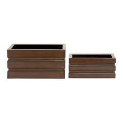 Rectangle Shaped Stylish and Unique Metal Planter, Set of 2 - Description: