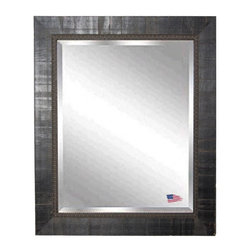 Rayne Mirrors - American Made Rayne Tuscan Ebony Wall Mirror - This Tuscan inspired wall mirror features a weathered ebony wood block overlay design and inner scroll detailing.  Aged & distressed like you've owned it for years.   Rayne's American Made standard of quality includes; metal reinforced frame corner support, both vertical and horizontal hanging hardware installed and a manufacturers warranty.