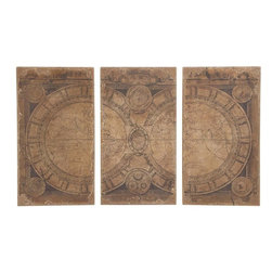 "Benzara - The Classic Set of 3 Wood Wall Panel - Are you looking to decorate your wall in a toned down but classic way? Looking to add something to the wall that will make people ponder thoughtfully? Well, now you can do just that with this wood wall panel in a set of three. Depicting the map of the world, this wall panel does that depiction in an intelligent way. The impression that is created because of its texture and colors is one of the bygone ages. Indeed, this wall panel will be perfect for homes that wish to allude to themes from the past. Additionally, it has been made using quality materials: this ensures that it will last with you for years to come. It will surely give definition to your wall and make them stand out. So don't delay any longer. This is one of the coolest wood wall panels. Wood wall panel dimensions: All 3 panels: 24 inches (W) x 2 inches (D) x 44 inches (H); Wood wall panel color: Brown; Made from: Wood; Dimensions: 19""L x 14""W x 25""H"