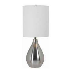 Kenroy Home - Kenroy Home 32156 1 Light Table Lamp with 3-Way Socket Switch from the Droplet C - 1 Light Table Lamp with 3-Way Socket Switch from the Droplet CollectionShimmery transitional teardrop lamp and an elegantly textured shade, Droplet adds a chic twist to the brushed steel table lamp.Kenroy lighting creations are custom designed to provide years of satisfaction. Trained designers and technicians create functional works of art that exceed appearance and performance expectations. Their craftsman match materials and finishes to each application, for showroom quality at superior values. Particular care is paid to hand applied polishing and painting, matched with the finest glass and shade treatments. Lighting collections are designed to facilitate mix and match coordination.Features: