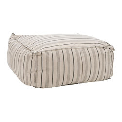 """Safavieh - Large Pouf - Multi-Stripe - Some call them beanbags, others prefer """"Pouf"""". Either way, Safavieh's Large Pouf Ottoman with multicolored neutral stripes on ecru ground speaks volumes about the easy, casual lifestyle. Upholstered in a smart linen/poly blend with tailored welting, this pouf is the epitome of indulgent comfort."""