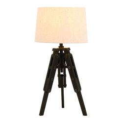 Benzara - Old World Table Lamp With Tripod From Nostalgic Silent Film Era - The base of this silent film era lamp is an authentic styled wooden camera tripod. Balanced in place of the camera is the light fixture and a simple white round lamp shade. If you are looking for a bedside reading lamp, look no further. The dark wood base will not reflect light and disturb the costar sleeping next to you.