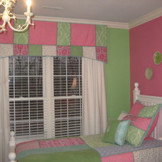 Traditional Kids Girls Pink and Green Bedroom