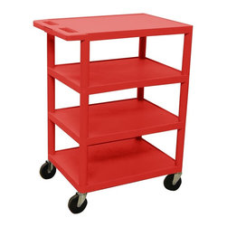 Luxor Furniture - Serving Cart w 4 Casters in Red - Includes 4 in. swivel casters. Two casters with locking brake. Four shelves. Multi-tiered and lightweight. Lip around back and sides of flat shelves. Push handle molded into the top shelf. 8.5 in. clearance between shelves. Made from high density polyethylene and plastic. Made in USA. Minimal assembly required. 24 in. W x 18 in. D x 36 in. H. Warranty