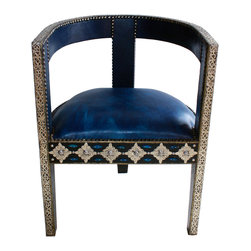 Badia Design Inc. - Moroccan Leather Chair with Metal and Bone, Blue - Moroccan Leather Chair is handcrafted and adorned with metal and bone by our skilled artisans in Morocco. This is a very elegant piece of furniture that can be used to decorate any room in your home and can also be used in weddings, parties or banquets.
