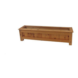 """Master Garden Products - Cedar Wood Deck Rail Top Planter Box - Decks are a commonly used living space.  These planters will surely enhance your deck or patio with its natural, vibrant cedar wood color, and simple design.  60""""L x 9""""W x 9""""H"""