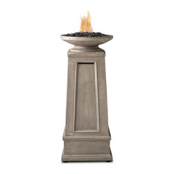 Real Flame - Corsica Propane Fire Column - Burns liquid propane, rated at up to 10,000 BTUs of heat. Uses 1-1lb size LP tank(not included) for up to 5 hours. Cast from painted fiber-concrete and steel.. Includes fire column, decorative black lava rock, adjustable feet, and protective storage cover.. 90 Day Limited Warranty. Minimal assembly requiredThe Corsica Fire Column features an elegantly styled bowl atop a tapered pillar with beautiful recessed paneling and finely detailed molding. This liquid propane version features an electronic ignition for ease of use, and a cleverly hidden, removable door to access the internally stored fuel tank. Decorative lava rock and protective vinyl cover included. All Real Flame propane products carry a CSA certification and feature an electronic ignition.