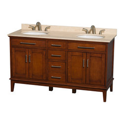"Wyndham Collection - Hatton 60"" Light Chestnut Double Vanity w/ Ivory Marble Top & Oval Sink - Bring a feeling of texture and depth to your bath with the gorgeous Hatton vanity series - hand finished in warm shades of Dark or Light Chestnut, with brushed chrome or optional antique bronze accents. A contemporary classic for the most discerning of customers. Available in multiple sizes and finishes."