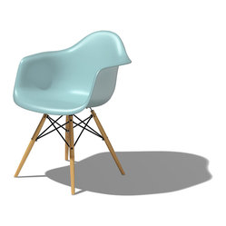 Herman Miller - Eames Plastic Armchair, Dowel Leg Base | Smart Furniture - You'll feel like a VIP in this good-looking chair. Proud to be the first industrially manufactured plastic chairs, the clean, simple forms cradle the body. This sky-colored chair will brighten your space for years to come.