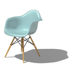 Herman Miller - Eames Plastic Armchair - Dowel Leg Base - You'll feel like a VIP in this good-looking chair. Proud to be the first industrially manufactured plastic chairs, the clean, simple forms cradle the body. This sky-colored chair will brighten your space for years to come.