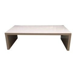 Used White Lacquer Parsons Coffee Table - Great table in great condition! Only used once for home staging. Some very minor smudging on the top - typical of lacquered pieces. Clean lines that just never go out of style.
