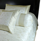 Banarsi Designs - Hand Embroidered 7-Piece Duvet Cover Set, Beige, Queen - Decorative duvet cover set features an elegant and bold hand embroidered design.
