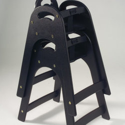 Koala Kare Products - Designer High Chair - Features: -Standard table height.-Curved design prevents upside down use as an infant seat holder.-Light texture.-Curved design allows child to sit right at table, eliminating the need for a tray.-Textured surface resists scuffing.-Easy to clean high chair with no loose parts.-Flush hardware.-No crevices to trap food and dirt.-Can be power-washed and is dishwasher safe.-Meets the latest ASTM International Safety Standards F 404-08.-Seamles solid HDPE plastic construction.-Distressed: No.-Country of Manufacture: United States.Dimensions: -Overall dimensions: 29.50'' H x 16.75'' W x 21.75'' D.-Overall Product Weight: 14 lbs.Warranty: -Manufacturer provides 5 year warranty.