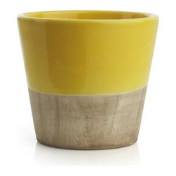 Carnivale Yellow Mini Planter - Two-tone earthenware planters cache small pots of herbs or small flowers in garden-party brights with contrasting neutrals. Line them up for a kaleidoscope of summer color or present one as a hostess, teacher or Mother's Day gift.
