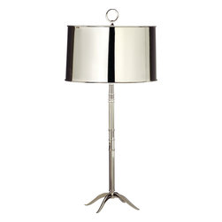 Robert Abbey - Column Table Lamp, White - Your light in shining armor has arrived. This brilliant and handsome table lamp is luminescent with the glow of a highly polished nickel finish that extends from the beautifully creative base to the lampshade.