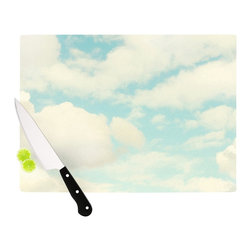 """Kess InHouse - Sylvia Cook """"Clouds"""" Blue White Cutting Board (11"""" x 7.5"""") - These sturdy tempered glass cutting boards will make everything you chop look like a Dutch painting. Perfect the art of cooking with your KESS InHouse unique art cutting board. Go for patterns or painted, either way this non-skid, dishwasher safe cutting board is perfect for preparing any artistic dinner or serving. Cut, chop, serve or frame, all of these unique cutting boards are gorgeous."""